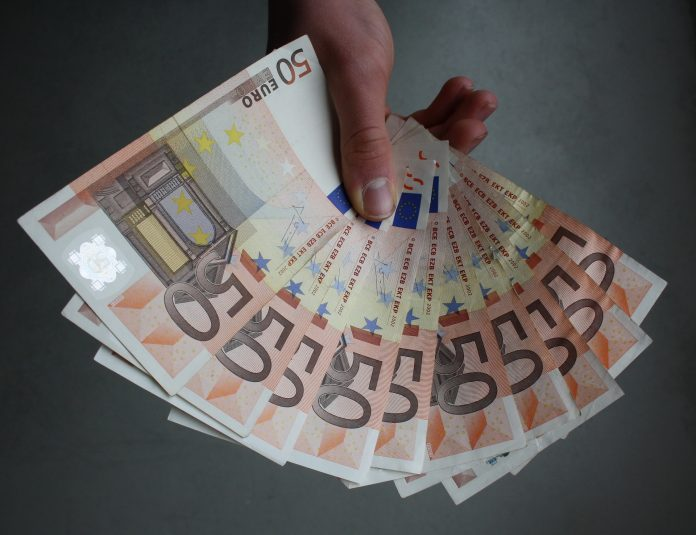 Hand Notes Money Cash Holding Euro Banknotes